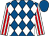 Royal blue and white diamonds, white and red striped sleeves, royal blue cap
