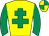 Yellow, emerald green cross of lorraine and sleeves, quartered cap