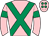 Pink, emerald green cross belts, armlets and spots on cap