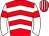 Red, white chevrons, white sleeves, red armlets, red and white striped cap