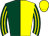 Dark green and yellow (halved), striped sleeves, yellow cap