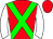 Red, green cross belts, white sleeves