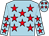 Light blue, red stars