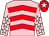 Pink, red chevrons, pink sleeves, white stars, red cap, pink star