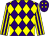 Purple and yellow diamonds, yellow and purple striped sleeves
