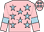 Pink, light blue stars, armlets and stars on cap