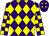 Purple and yellow diamonds, checked sleeves