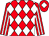 Red and white diamonds, striped sleeves, red cap, white diamond