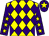Yellow and purple diamonds, purple sleeves, yellow stars, purple cap, yellow star