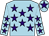 Light blue, purple stars, purple star on cap