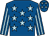Royal blue, light blue stars, striped sleeves