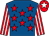 Royal blue, red stars, red and white striped sleeves, red cap, white star