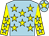 Light blue, yellow stars, yellow sleeves, light blue stars, light blue cap, yellow star