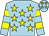 Light blue, yellow stars, hooped sleeves and stars on cap