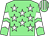 Light green, white stars, chevrons on sleeves, striped cap