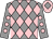 Grey and pink diamonds, grey sleeves, pink spots, pink cap, grey diamond