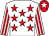 White, red stars, striped sleeves, red cap, white star