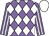 Mauve and white diamonds, striped sleeves, white cap