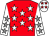 Red, white stars, white sleeves, grey stars, white cap, red stars