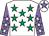 White, emerald green stars, mauve sleeves, white stars, white cap, mauve star