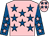 Pink, royal blue stars, royal blue sleeves, pink stars