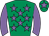 Emerald green, mauve stars, sleeves and star on cap