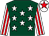 Dark green, white stars, white and red striped sleeves, white cap, red star