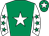 Emerald green, white star, white sleeves, emerald green stars, emerald green cap, white star