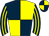 Dark blue and yellow (quartered), striped sleeves