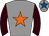 Grey, orange star, brown sleeves, grey cap, royal blue star
