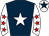 Dark blue, white star, white sleeves, red stars, white cap, dark blue star