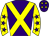 Purple, yellow cross belts, yellow sleeves, purple stars and stars on cap