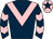 Dark blue, pink chevron, chevrons on sleeves, pink cap, dark blue star