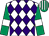 White & purple diamonds, emerald green sleeves, white armlet, emerald green & white striped cap