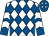 White and royal blue diamonds, royal blue and white chevrons on sleeves, royal blue cap, white diamonds