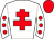 White, red cross of lorraine, white sleeves, red spots, red cap