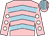 Pink, light blue chevrons, pink sleeves, white spots, pink and light blue striped cap
