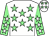 White, light green stars, light green sleeves, white stars and stars on cap