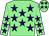 Light green, purple stars