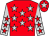 Red, silver stars, silver sleeves, red stars, red cap, silver star