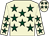 Beige, dark green stars