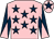 Pink, dark blue stars, dark blue and pink diabolo on sleeves, pink cap, dark blue star