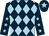 Dark blue and light blue diamonds, dark blue sleeves, light blue stars, dark blue cap, light blue star