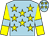 Light blue, yellow stars, yellow sleeves, light blue armlets