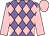 Mauve and pink checked diamonds, pink sleeves and cap