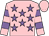 Pink, mauve stars, hooped sleeves, pink cap