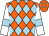 Orange and light blue diamonds, white sleeves, light blue armlets