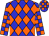 Blue, orange diamonds, checked sleeves and cap