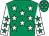 Emerald green, white stars, white sleeves, emerald green stars