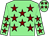 Light green, maroon stars